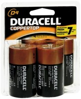 Duracell Coppertop D Alkaline Batteries 1.5 Volt 4 Each [041333430010]