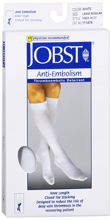 JOBST Anti-Embolism Knee High Closed Toe Large Regular White 1 Pair [035664114749]
