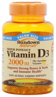 Sundown Naturals Vitamin D3 2000 IU Softgels Super Potency 300 ea [030768199418]