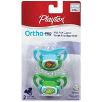 Playtex Ortho-Pro Silicone 6 Month + Pacifier, Colors May Vary 2 ea [078300001317]
