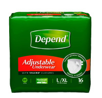 Depend Maximum Absorbency Adjustable Underwear, Large/Extra Large 16 ea [036000191844]