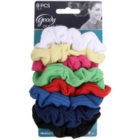 Goody Ouchless Ribbed Gentle Hair Scrunchies, Assorted Colors 8 ea [041457044490]