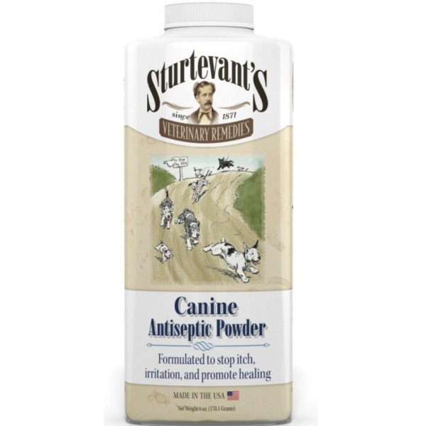 Sturtevant's Veterinary Remedies Canine Antiseptic Powder -Stops Itching  from Hot Spots, Promotes Healing of Wounds and Abrasions, PETA Approved, 6  oz