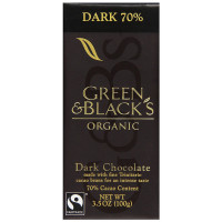Green & Black's Organic Dark Chocolate Bar, 3.5 oz Bars, 70% Cacao 10 ea [708656100005]