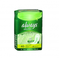 Always Ultra Thin Pads without Wings, Unscented, Long Super 40 ea [037000324942]