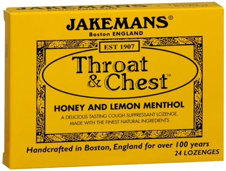 Jakemans Throat & Chest Lozenges Honey and Lemon Menthol 24 Each [895164002072]
