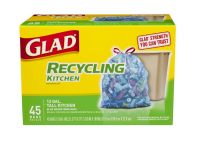 Glad Recycling Tall Kitchen Drawstring Trash Bags, 13 Gallon, Blue 45 ea [012587785423]
