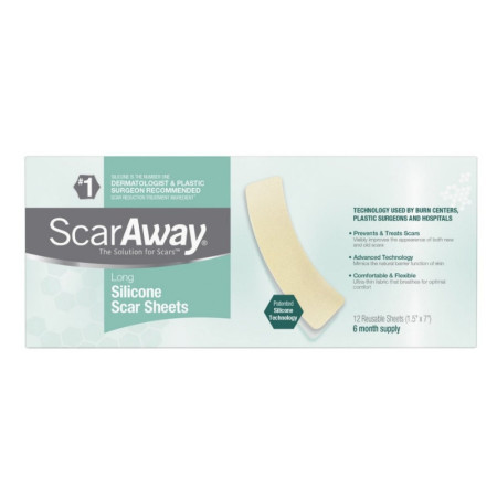 ScarAway 1.5 in. x 7 in. Fabric-Backed, Protective Silicone Scar Sheets 12 ea [070030511661]