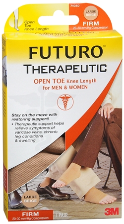 FUTURO Therapeutic Knee Length Stockings Open Toe Firm Large Beige 1 Pair [382250050050]
