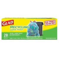 Glad Recycling Large Drawstring Blue Trash Bags 28 ea [012587785447]