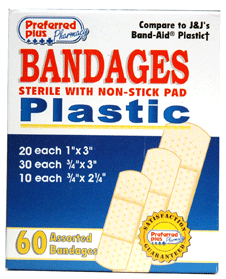 Bandages Plastic Adhesive, Sterile w/ Non-Stick Pad, Assorted Sizes 60 ea [616784368887]