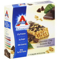 Atkins Advantage Chocolate Chip Granola Bar 1.70 oz, 5 ea [637480045063]