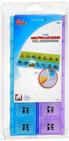 Ezy-Dose Adult-Lock 7-Day AM/PM Locking Pill Reminder 2XL #67828 1 Each [025715678283]