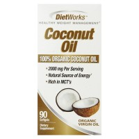 Diet Works Coconut Oil Softgels, 100% Organic Coconut Oil, Rich in MCTs, Healthy Weight Loss Formula 90 ea [035046081799]