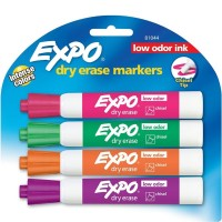 Expo Low Odor Dry Erase Markers, Chisel Tip, Assorted Colors 4 ea [071641810440]