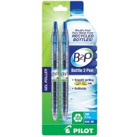 Pilot B2P Bottle-2-Pen Recycled Retractable Gel Ink Pen, Blue Ink 2 ea [072838316066]