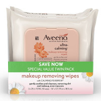 AVEENO Ultra-Calming  Makeup Removing Wipes for Sensitive Skin, Twin Pack [381371179718]