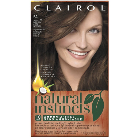 Clairol Natural Instincts Semi-Permanent Hair Color, Medium Cool Brown Color [5A] 1 ea [381519003073]