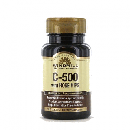 Windmill Vitamin C-500 Tablets Rose Hips 100 Tablets [035046001933]
