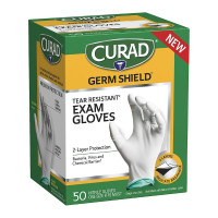 Curad Germ Shield Nitrile Exam Gloves, Disposable Gloves are Tear Resistant, One Size Fits Most 50 ea [888277673550]