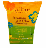 Alba Botanica Hawaiian 3-In-1 Clean Towelettes Pineapple Enzyme 30 ea [724742008093]