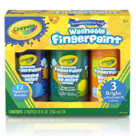 Crayola Washable Bright Fingerpaint, Secondary Colors 3 ea [071662213114]
