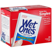 WET ONES Antibacterial Hand Wipes Singles, Fresh Scent 24 ea [076828047237]