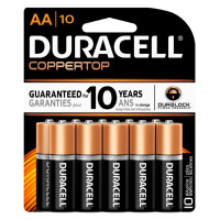 Duracell Coppertop Alkaline Batteries 1.5 Volt AA 10 Each [041333048642]
