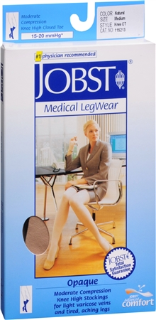 JOBST Medical LegWear Knee High 15-20 mmHg Opaque Medium Silky Beige 1 Pair [035664152130]