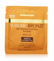 L'Oreal SUBLIME BRONZE Self-Tanning Towelettes For Body, Medium Natural Tan 6 Each [071249000601]