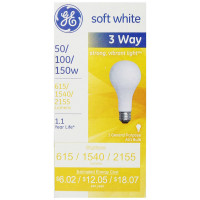 GE SoftWhite Light Bulb 3-Way 50/100/150 Watt 3 ea [043168385404]