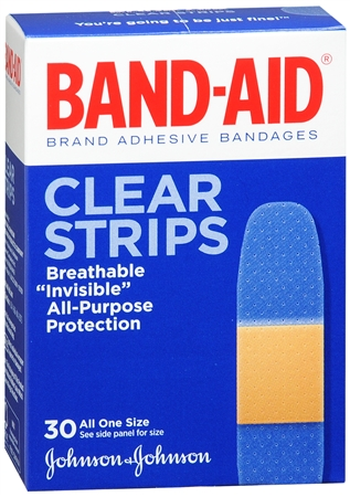 BAND-AID Clear Strips Adhesive Bandages All One Size 30 Each [381370046707]