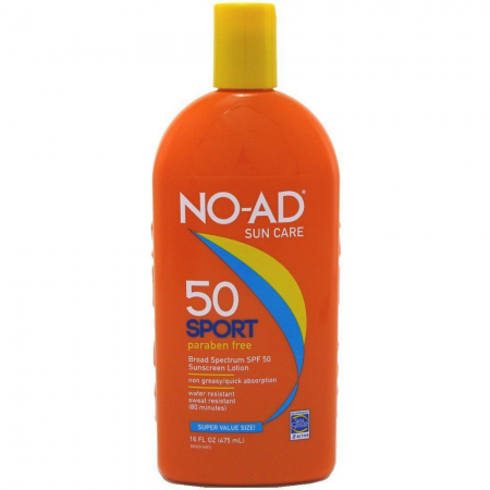 NO-AD Sport Active Sunscreen Lotion, SPF 50 16 oz [897640002200]
