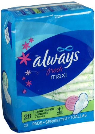 Always Fresh Pads Super Long Flexi-Wings 28 Each [037000029229]