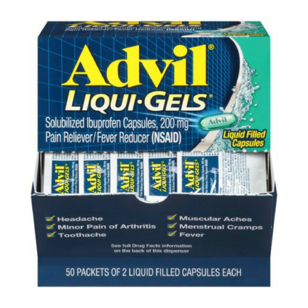 Advil Pain Reliever/Fever Reducer 200 mg Liqui-Gels Capsules, 2 Liqui-Gels Per Pack, 50 ea [305730169028]