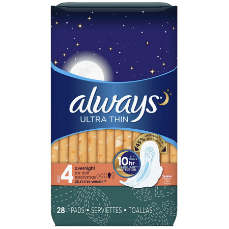 Always Ultra Thin Pads Overnight Flexi-Wings 28 Each [037000306627]