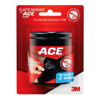 ACE Black Elastic Bandage with Ace Brand Clip, 3 Inch 1 ea [051131192980]