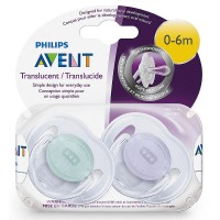 Philips Avent Orthodontic Translucent Pacifier, 0-6 Months [colors vary] 2 ea [075020020222]