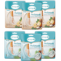 Amope Pedimask Foot Sock Mask 6-Pack (6 Packs x 1 Pair), Coconut Oil Essence, 3 Pairs and Macadamia Oil Essence, 3 Pairs  1 ea [191567783632]