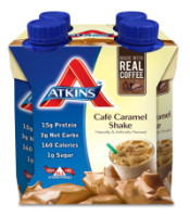 Atkins Advantage Shake, 11 oz bottles, Cafe Caramel Latte 4 bottles [637480065146]