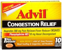 Advil Congestion Relief Coated Tablets 10 Tablets [305730195102]