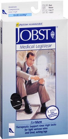 JOBST Medical LegWear For Men Knee High Socks 15-20 mmHg Black Medium 1 Pair [035664150013]