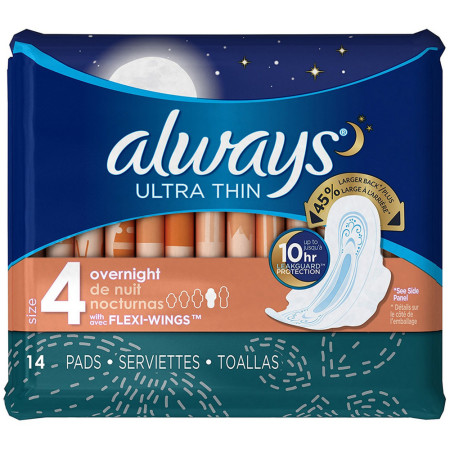 Always Ultra Thin Overnight Pads with Flexi-Wings, Size 4, Unscented 14 ea [037000301653]