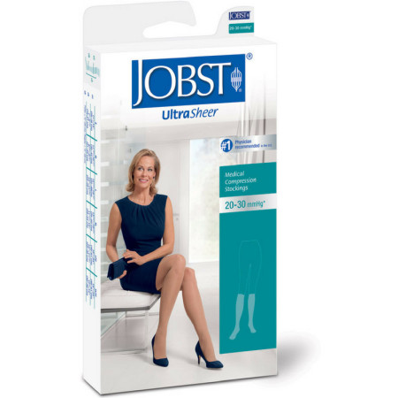 JOBST UltraSheer Medical Compression Knee High Stockings, 20-30 mmHg* Medium Natural 1 Pair [035664215019]