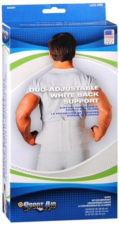 Sport Aid Back Support Duo-Adjustable White M/L 1 Each [763189036085]