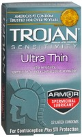 TROJAN Sensitivity Ultra Thin Spermicidal Latex Condoms 12 Each [022600927426]