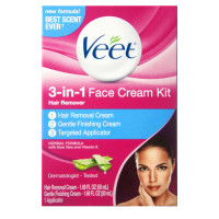 VEET 3-in-1 Face Cream Hair Remover Kit, Normal Formula With Aloe Vera & Vitamin E 1 ea [062200871590]