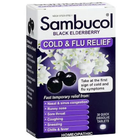 Sambucol Cold & Flu Relief Quick Dissolve Tablets, Black Elderberry 30 ea [896116001501]