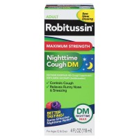 Robitussin Max Strength Nighttime Cough DM Cough Suppressant & Antihistamine Liquid 4 oz [300318718131]