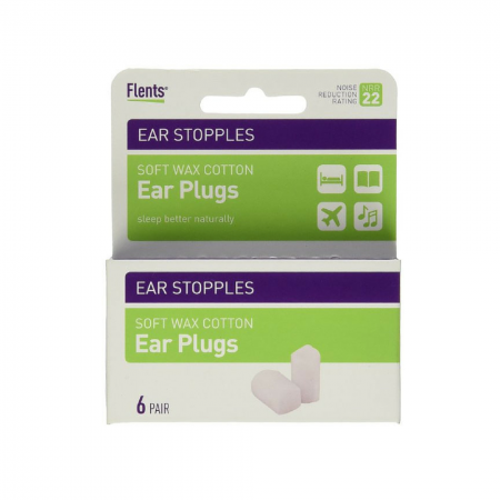 Flents Ear Stopples Wax-Cotton Ear Plugs 6 Pairs [023185021226]